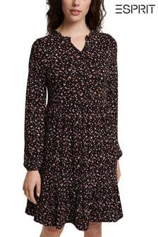 Esprit Black Floral Midi Dress
