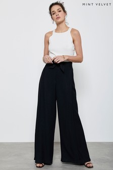 Mint Velvet Black Belted Wide Leg Trousers
