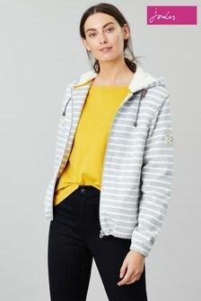 Joules Grey Joanna Stripe Zip Through Fleece Lined Hoody
