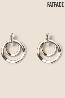 FatFace Silver Tone Multi Ring Stud Earrings