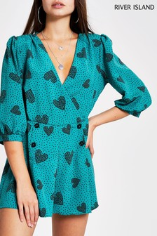 River Island Green Long Sleeved Playsuit