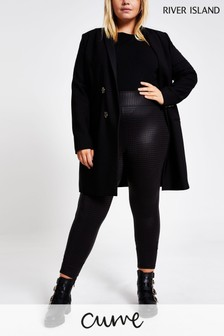 River Island Plus Size Black Dogtooth Leggings