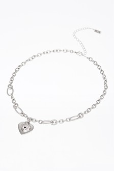 Pave Heart Charm Link Necklace