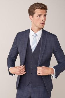 Skinny Fit Check Suit: Jacket