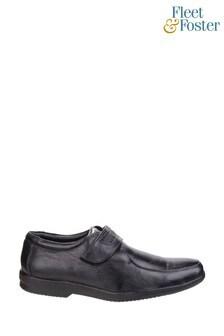 Fleet & Foster Black Jim Apron Toe Shoes