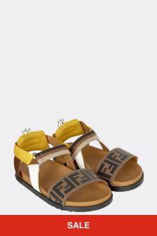 Fendi Kids Brown Leather Sandals