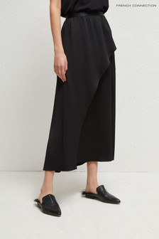 French Connection Black Alessia Satin Midi Skirt