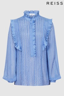 Reiss Blue Taylor Ruffle Detailed Blouse