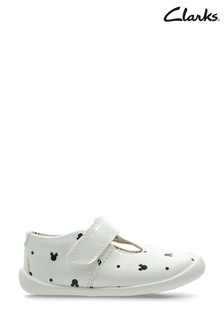 Clarks White Combi Roamer Polka Shoes