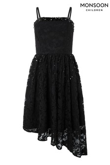 Monsoon Children Black Roma Lace Asymetric Prom Dress