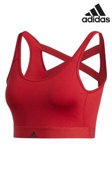 Темно-красный спортивный бюстгальтер с 3 полосами adidas