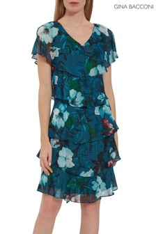 Gina Bacconi Blue Dedra Tiered Dress