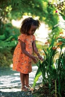 Frugi Organic Cotton Orange Tigers Jersey Dress