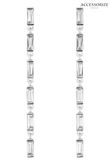 Accessorize Clear Baguette Slinky Drop Earrings