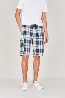Laundered Check Cargo Shorts