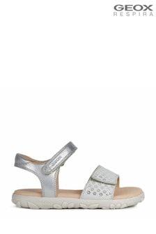 Geox Girl's Haiti Silver Sandals
