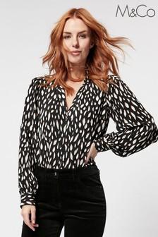 M&Co Animal Print V-Neck Shirt