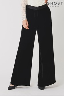 Ghost London Eden Black Silk Velvet Trousers