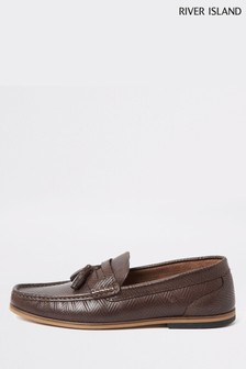 River Island Tadley Embossed Tassel Loafers