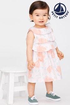 Petit Bateau Kleid mit Rosen-Print, Pink