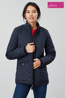 Joules Blue Daleview Long Quilted Jacket