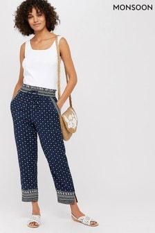 Monsoon Blue Tara Print Trouser