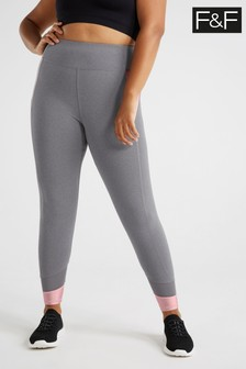 F&F Grey Rose Gold Panelled Leggings