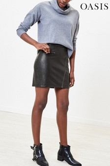 Oasis Black Faux Leather Mini Skirt