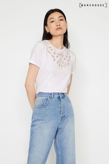 Warehouse White Cutwork T-Shirt