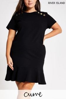 River Island Curve Black Plus Size Eton Dress