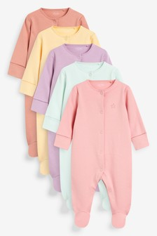 5 Pack Plain Sleepsuits (0mths-2yrs)