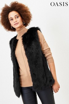 Oasis Black Faux Fur Gilet