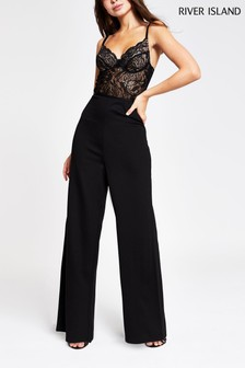 River Island Black Wax Corset Lace Jumpsuit