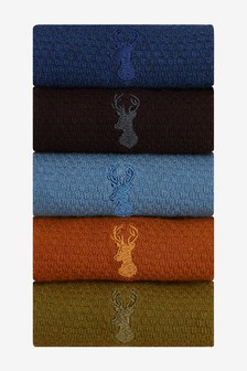 Textured Stag Colour Socks Five Pack