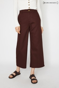 Warehouse Purple Casual Wide Leg Trousers