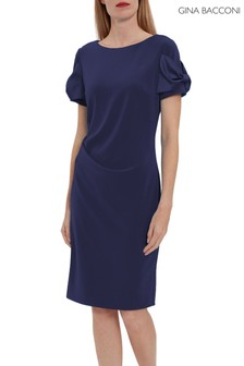 Gina Bacconi Blue Risa Crepe Dress With Satin Bows