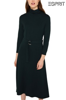 Esprit Midi Knitted Dress With Belt And Roll Neck