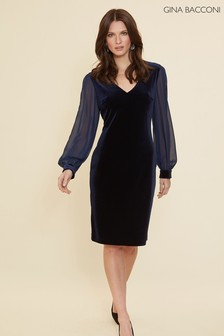 Gina Bacconi Blue Drita Velvet Dress With Chiffon Sleeves