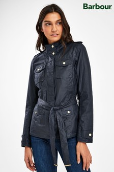 Barbour® Tartan Navy Wax Belted Mackay Jacket