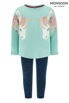 Monsoon Children Blue Baby Unicorn Sweat Set