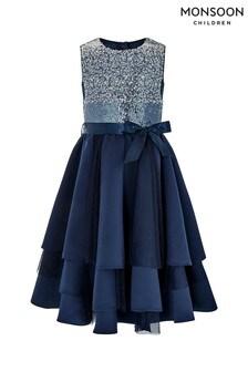 Monsoon Navy Olwyn Ombre Dress