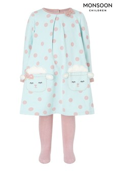 Monsoon Blue Organic Baby Aqua Lamb Dress And Tights