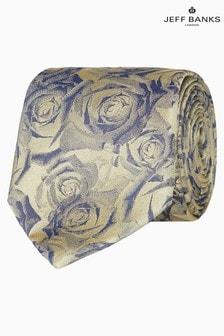 Jeff Banks Gold Digital Style Roses Motif Silk Tie
