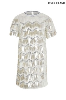 River Island Silver Sequin Sporty Tee Dress
