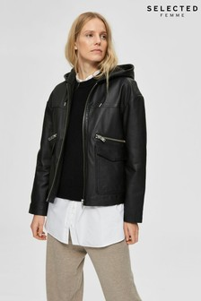 Selected Femme Black Leather Hooded Jacket