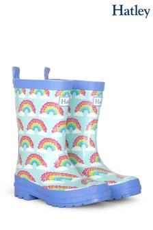 Hatley Blue Magical Rainbows Shiny Rain Boots