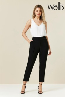 Wallis Petite Black Relaxed Pull-On Trousers