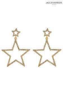 Accessorize Clear Sparkle Star Drop Earrings