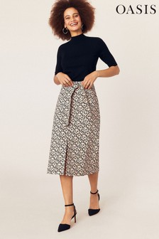 Oasis Natural Animal Midi Skirt