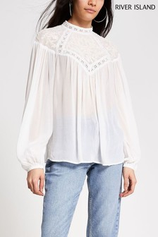 River Island Cream Long Sleeve Beaded High Neck Top